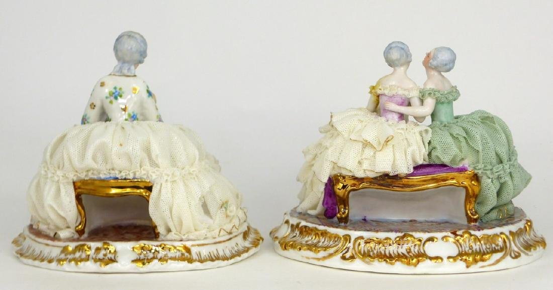 2pc DRESDEN STYLE LACE PORCELAIN FIGURAL GROUPS - 5