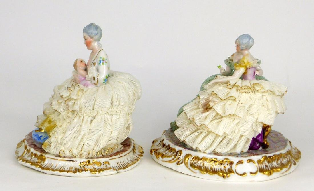 2pc DRESDEN STYLE LACE PORCELAIN FIGURAL GROUPS - 6