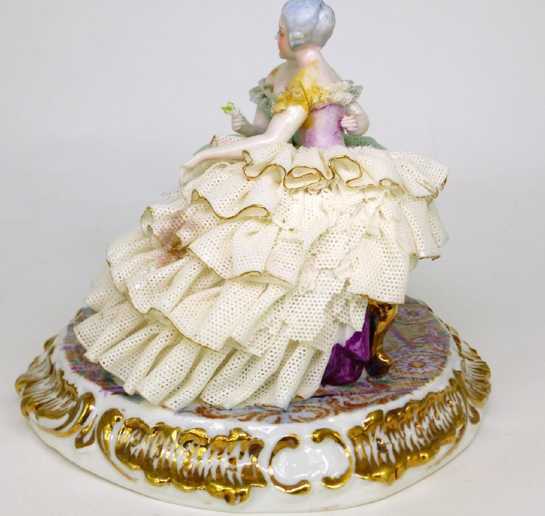 2pc DRESDEN STYLE LACE PORCELAIN FIGURAL GROUPS - 7
