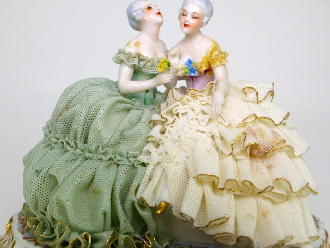 2pc DRESDEN STYLE LACE PORCELAIN FIGURAL GROUPS - 8