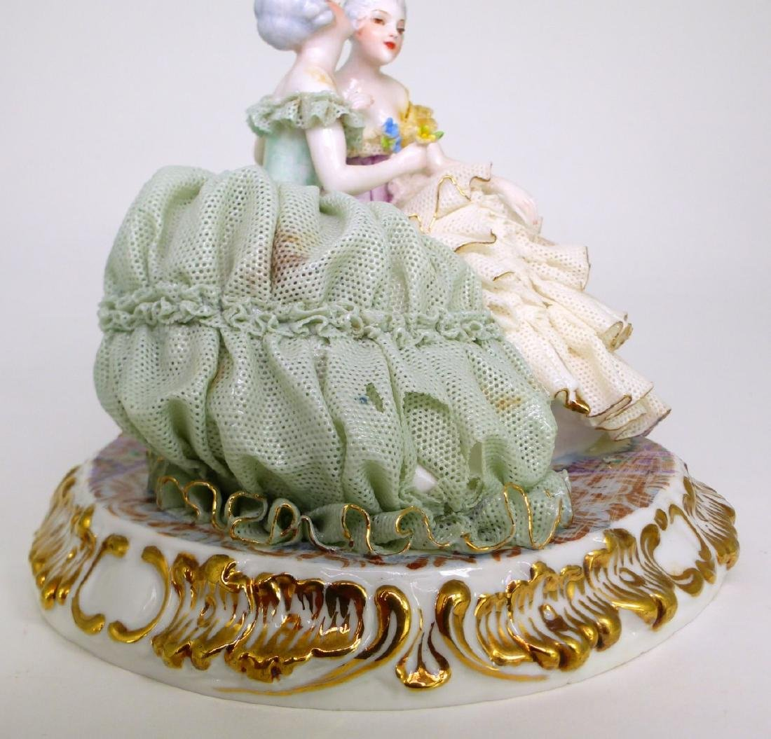 2pc DRESDEN STYLE LACE PORCELAIN FIGURAL GROUPS - 9