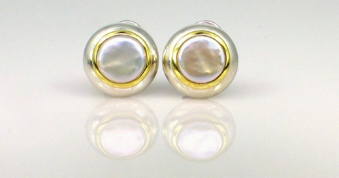 PR TIFFANY STERLING 18kt YG COIN PEARL EARRINGS - 4