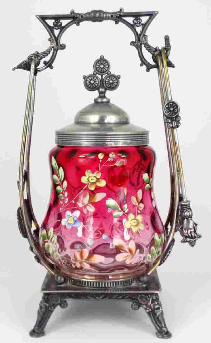 VICTORIAN ENAMELED GLASS PICKLE CASTOR