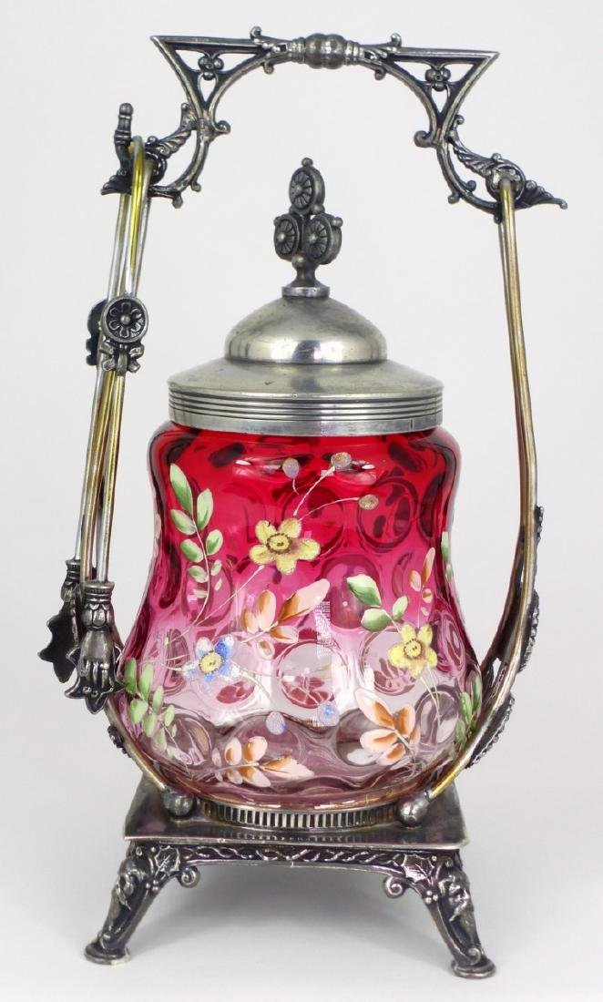 VICTORIAN ENAMELED GLASS PICKLE CASTOR - 4