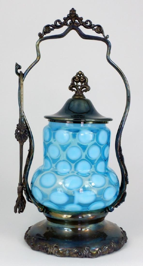 VICTORIAN COINSPOT GLASS PICKLE CASTOR - 3
