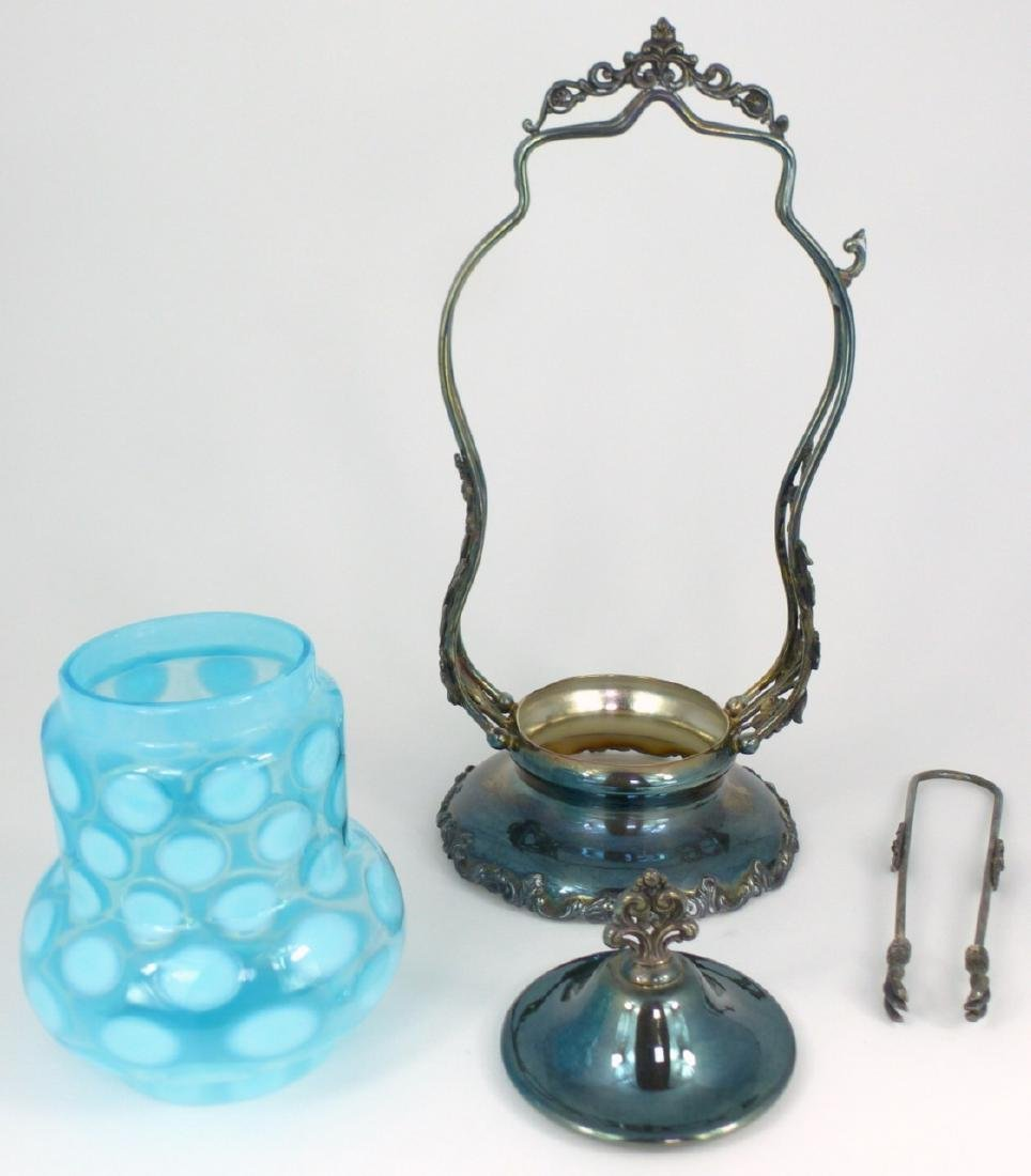 VICTORIAN COINSPOT GLASS PICKLE CASTOR - 5