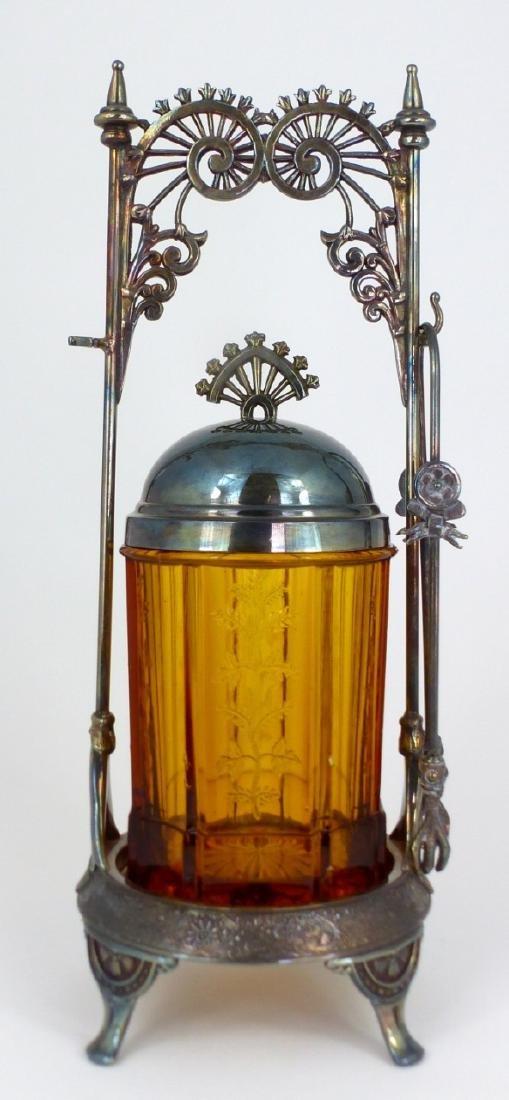 VICTORIAN AMBER GLASS PICKLE CASTOR