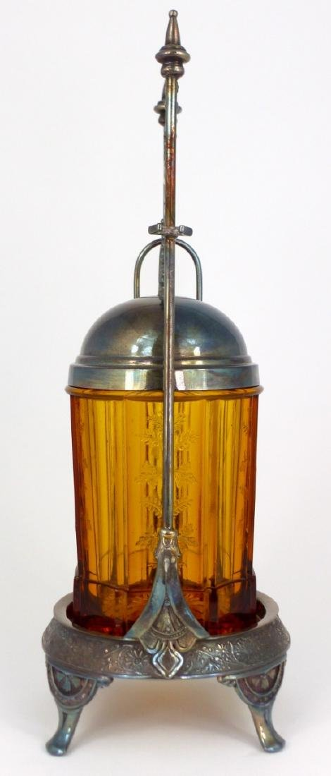 VICTORIAN AMBER GLASS PICKLE CASTOR - 2