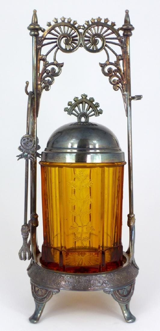 VICTORIAN AMBER GLASS PICKLE CASTOR - 3