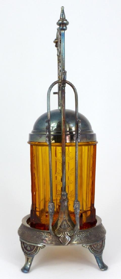 VICTORIAN AMBER GLASS PICKLE CASTOR - 4