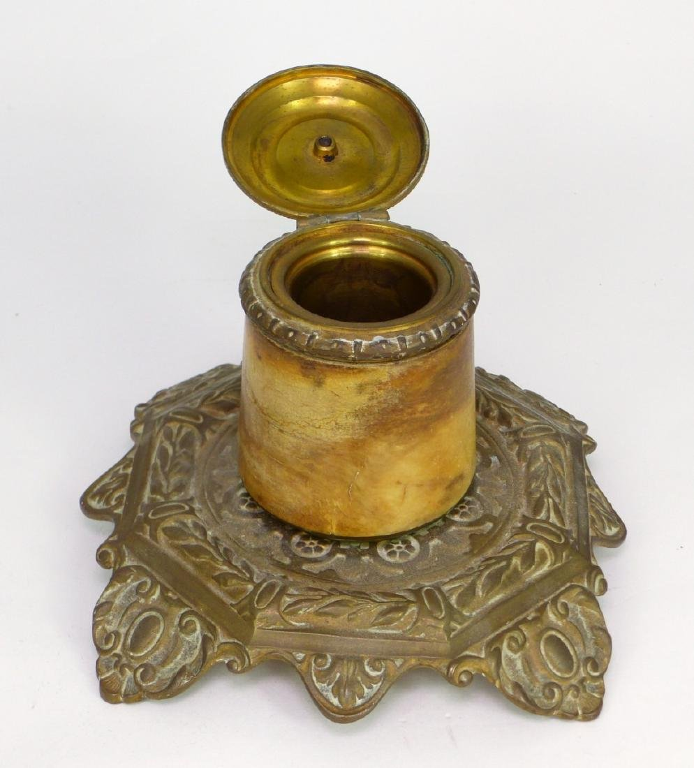 3pc BRASS DESK SET INKWELL, BLOTTER & HOLDER - 10