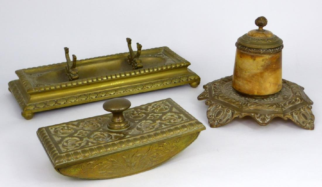 3pc BRASS DESK SET INKWELL, BLOTTER & HOLDER