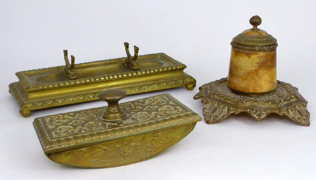 3pc BRASS DESK SET INKWELL, BLOTTER & HOLDER - 2