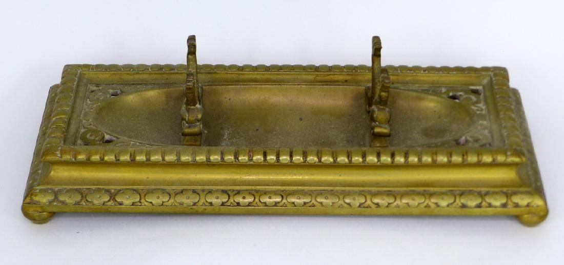 3pc BRASS DESK SET INKWELL, BLOTTER & HOLDER - 3