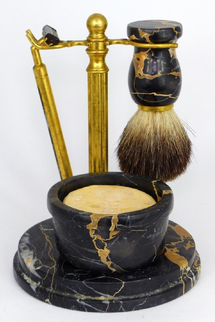 4pc ITALIAN MARBLE & BRASS SHAVING SET