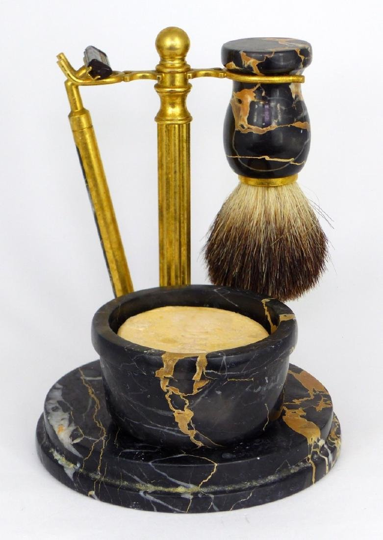 4pc ITALIAN MARBLE & BRASS SHAVING SET - 2