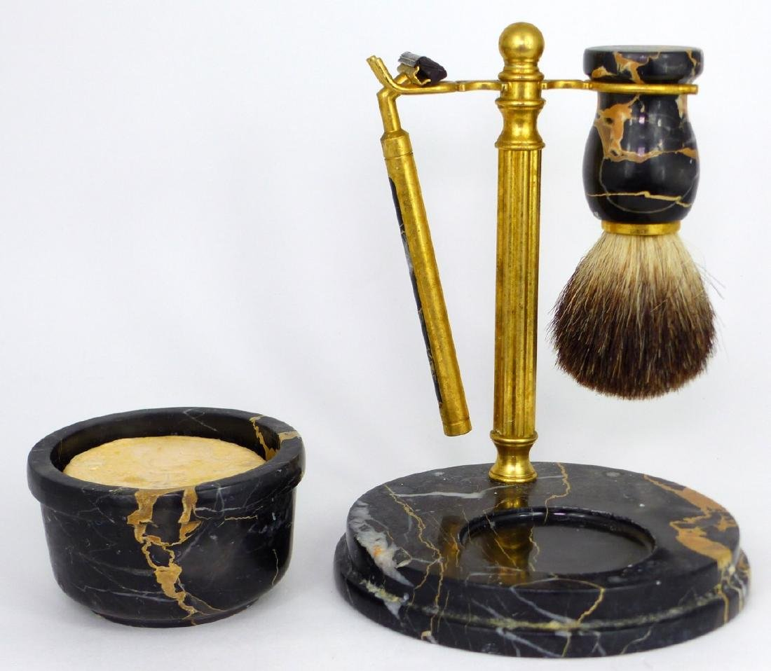 4pc ITALIAN MARBLE & BRASS SHAVING SET - 3