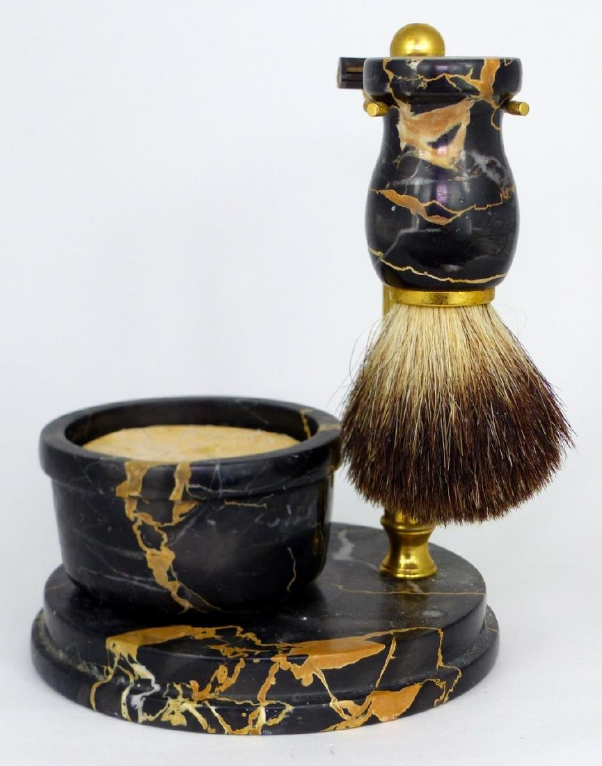 4pc ITALIAN MARBLE & BRASS SHAVING SET - 4