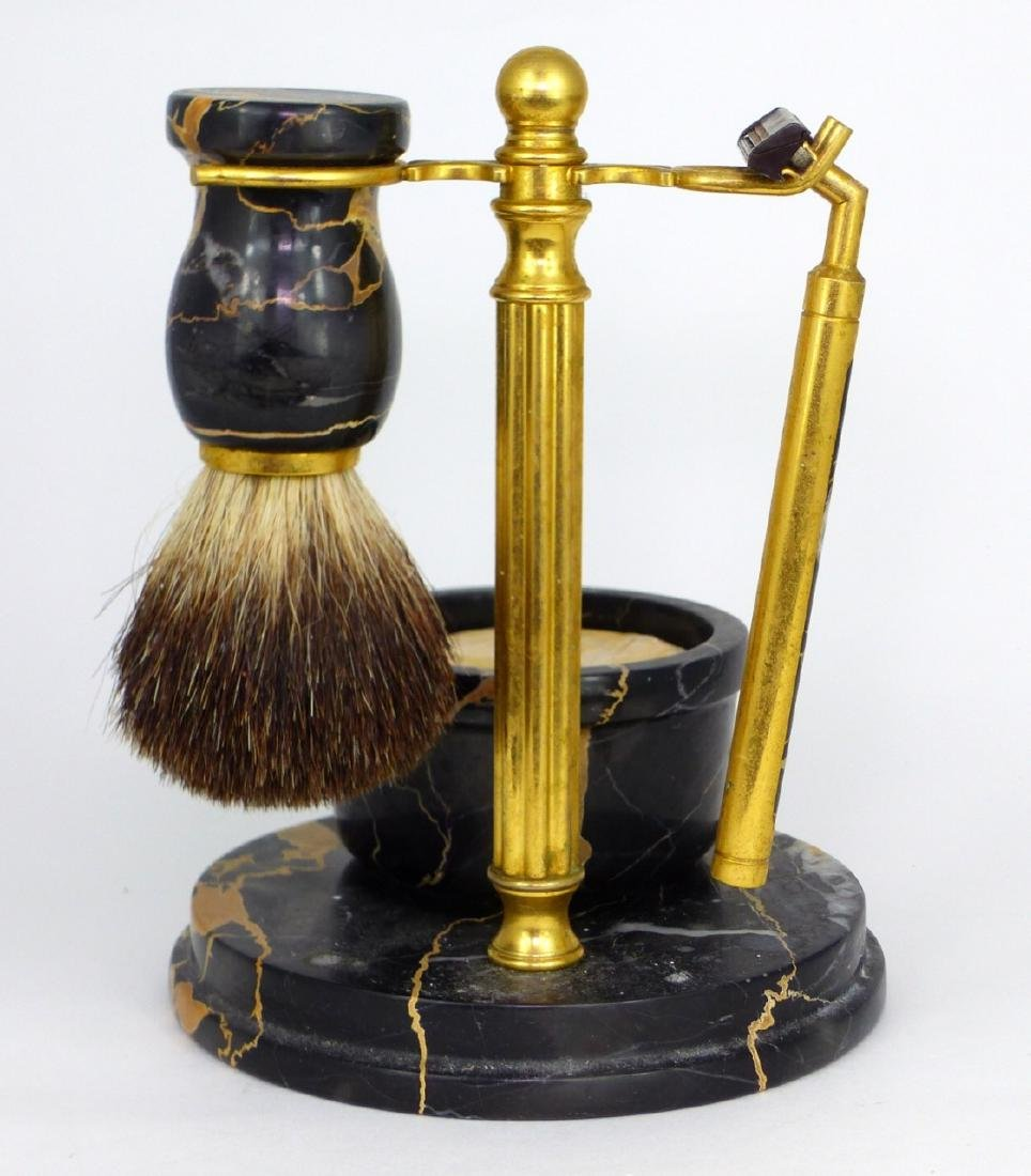 4pc ITALIAN MARBLE & BRASS SHAVING SET - 5