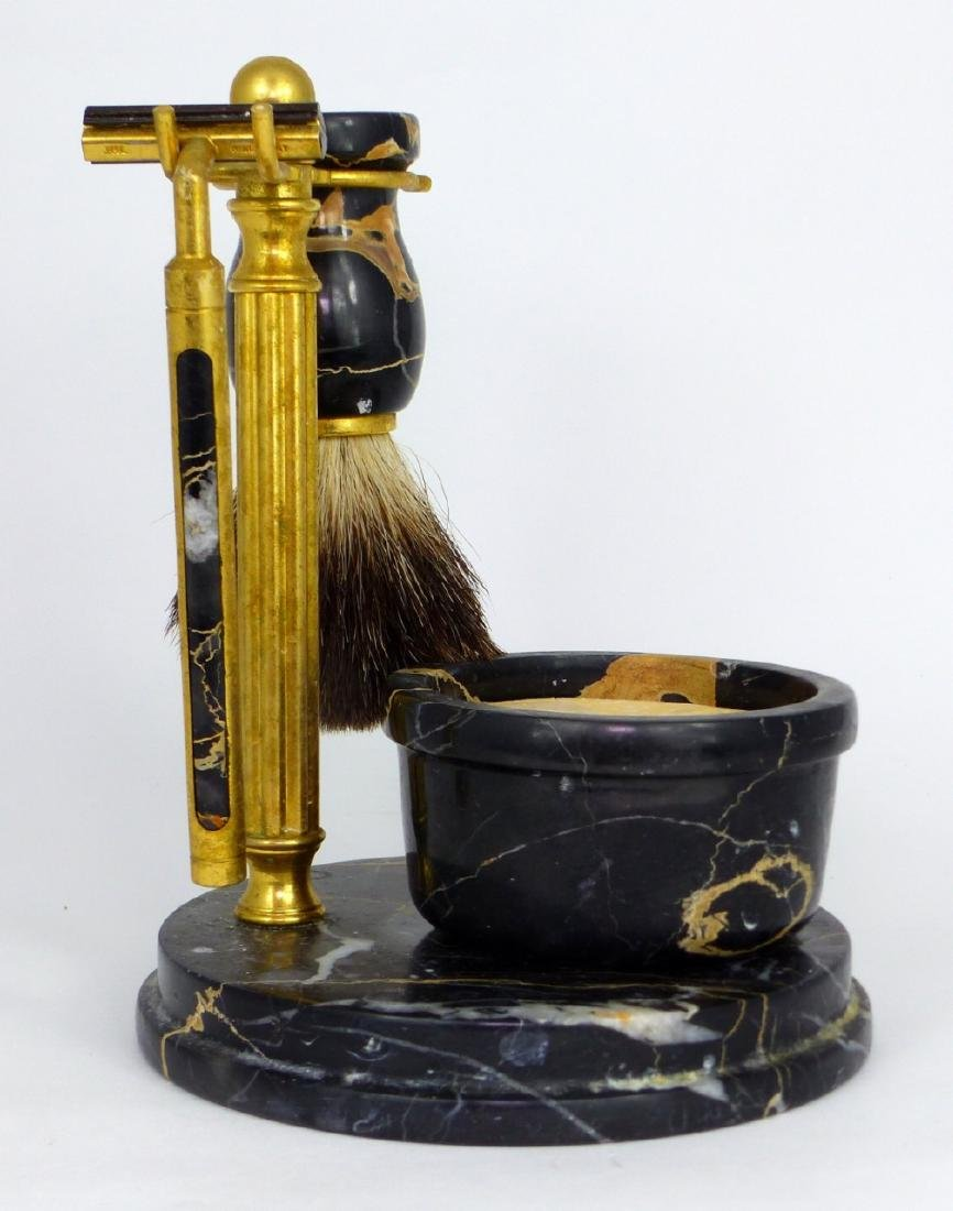 4pc ITALIAN MARBLE & BRASS SHAVING SET - 6