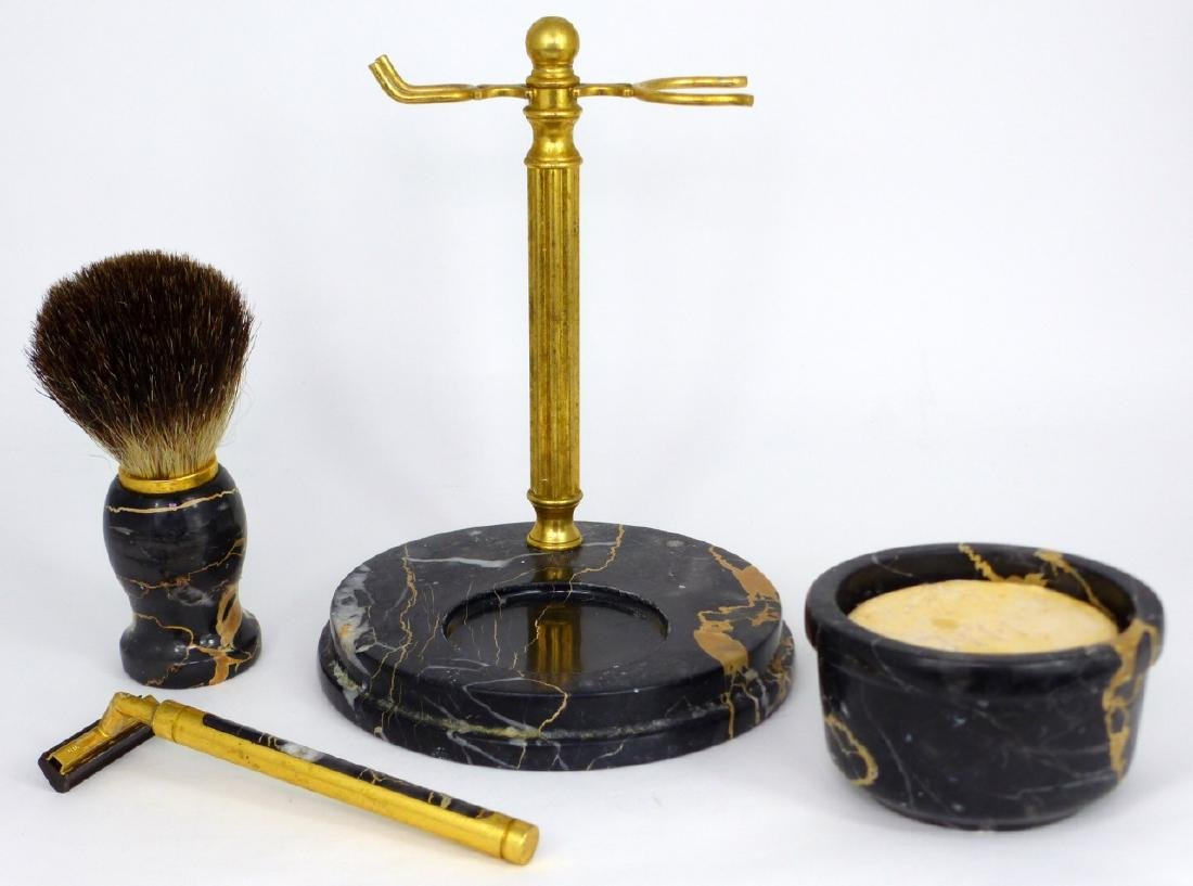 4pc ITALIAN MARBLE & BRASS SHAVING SET - 7
