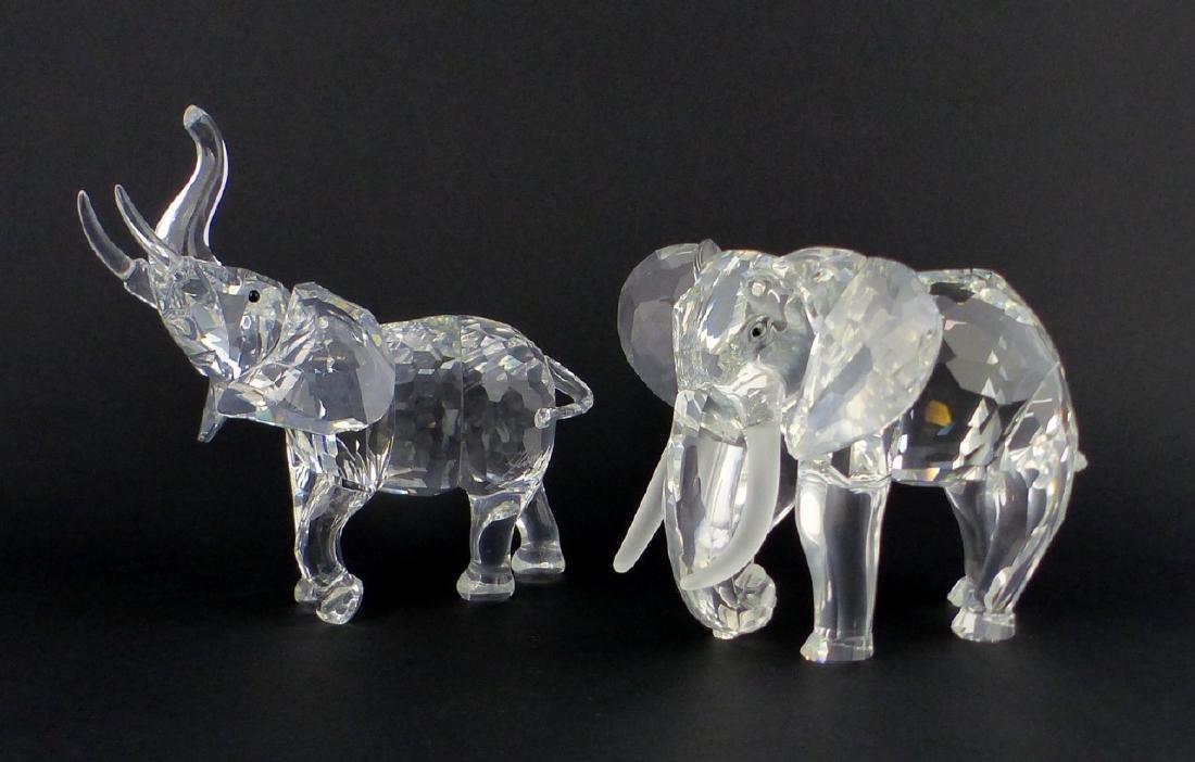 2pc SWAROVSKI CRYSTAL ELEPHANT FIGURES - 2