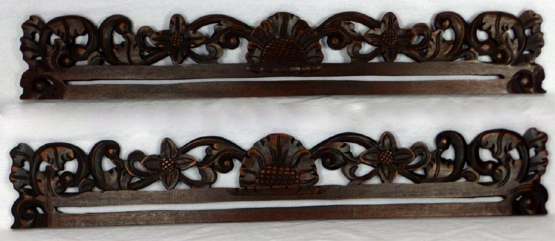 Pr Indonesian Carved Wood Tapestry Hangers