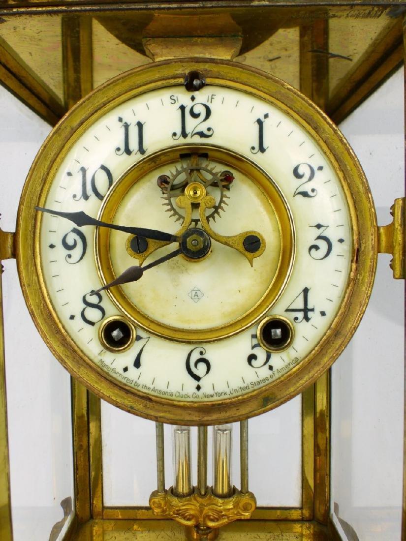 ANSONIA GILT BRASS MANTEL CLOCK - 4