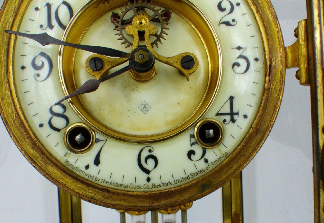ANSONIA GILT BRASS MANTEL CLOCK - 6