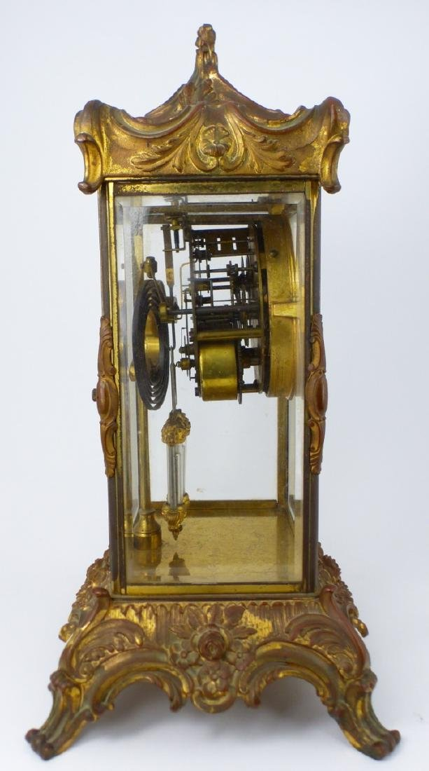 ANSONIA GILT BRASS MANTEL CLOCK - 8