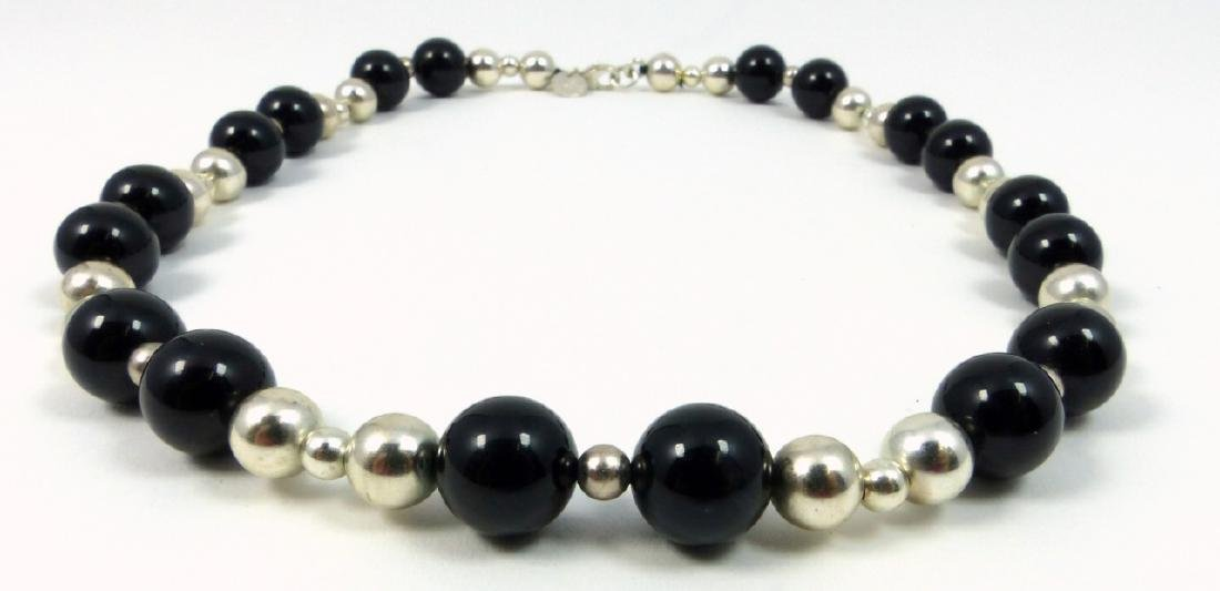 TIFFANY ONYX & STERLING SILVER BEADED NECKLACE - 2
