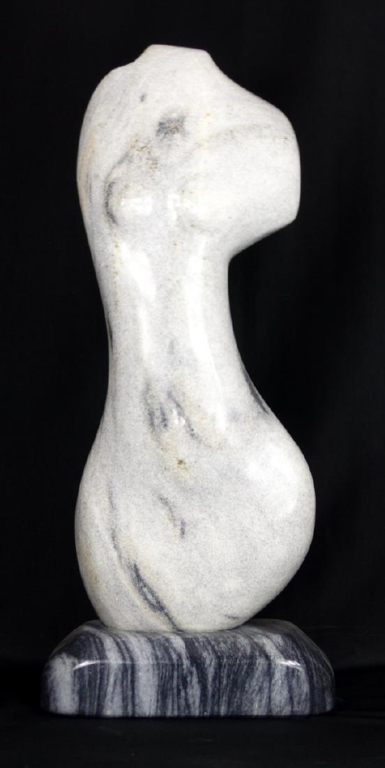 R.T. MORGAN NUDE FEMALE TORSO MARBLE SCULPTURE
