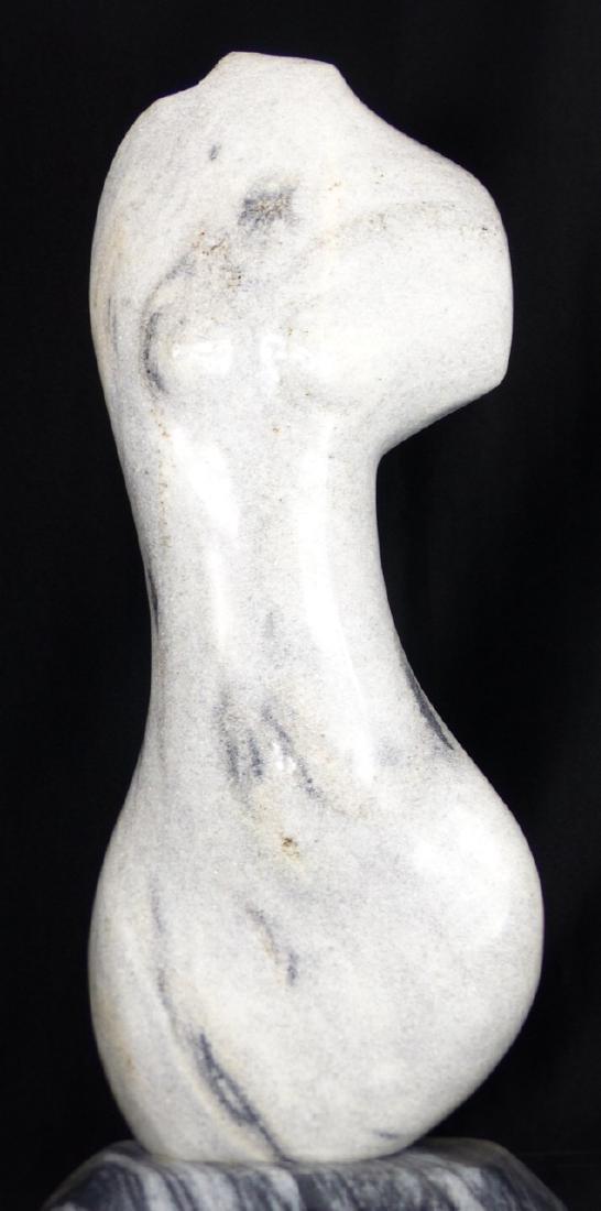 R.T. MORGAN NUDE FEMALE TORSO MARBLE SCULPTURE - 2
