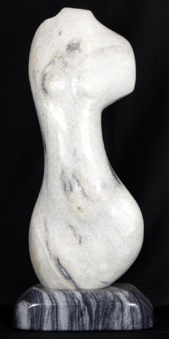 R.T. MORGAN NUDE FEMALE TORSO MARBLE SCULPTURE - 3