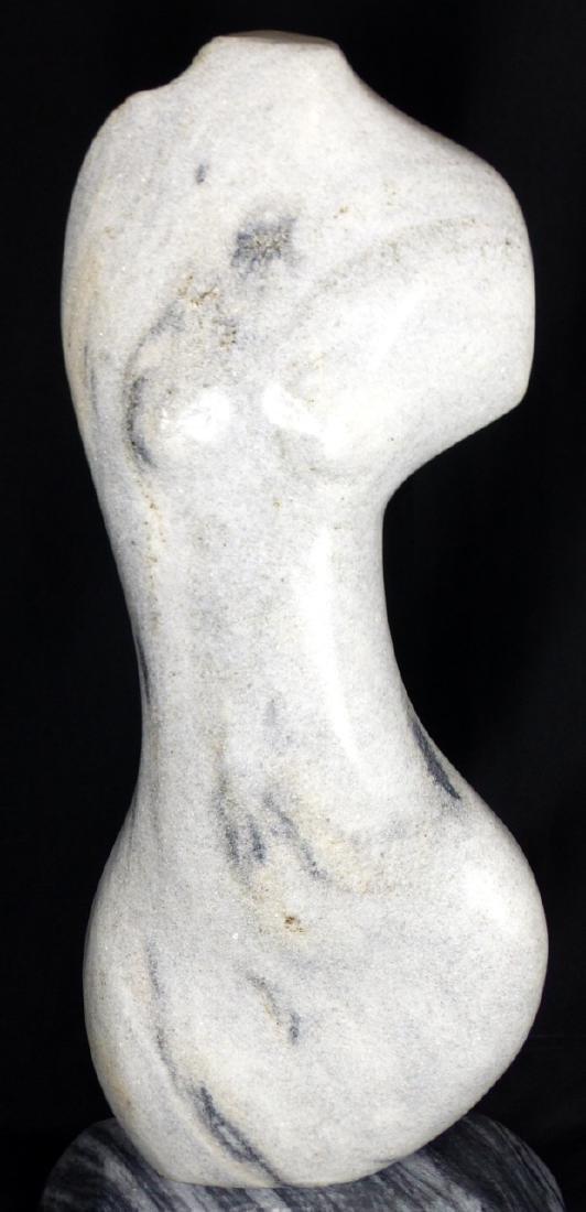 R.T. MORGAN NUDE FEMALE TORSO MARBLE SCULPTURE - 4