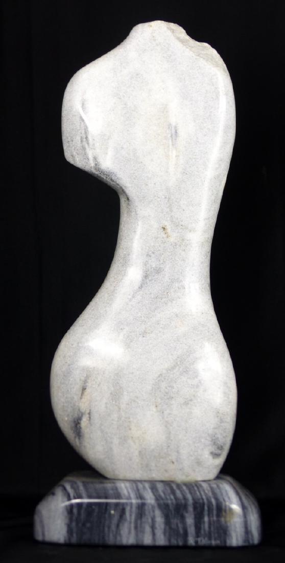 R.T. MORGAN NUDE FEMALE TORSO MARBLE SCULPTURE - 6