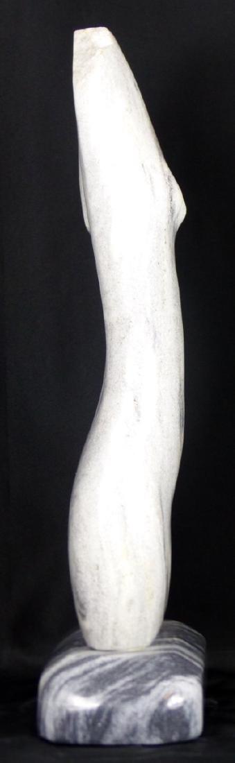 R.T. MORGAN NUDE FEMALE TORSO MARBLE SCULPTURE - 9