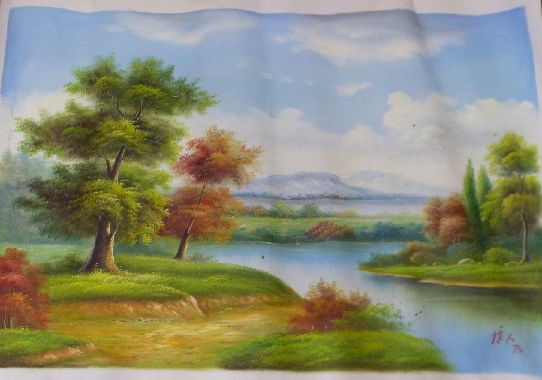 LANDSCAPE OIL PAINTING ON CANVAS AFTER WU ZUOREN - 2