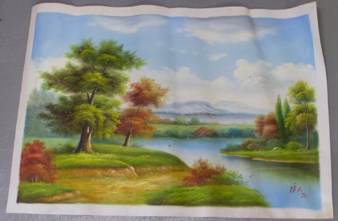 LANDSCAPE OIL PAINTING ON CANVAS AFTER WU ZUOREN - 3