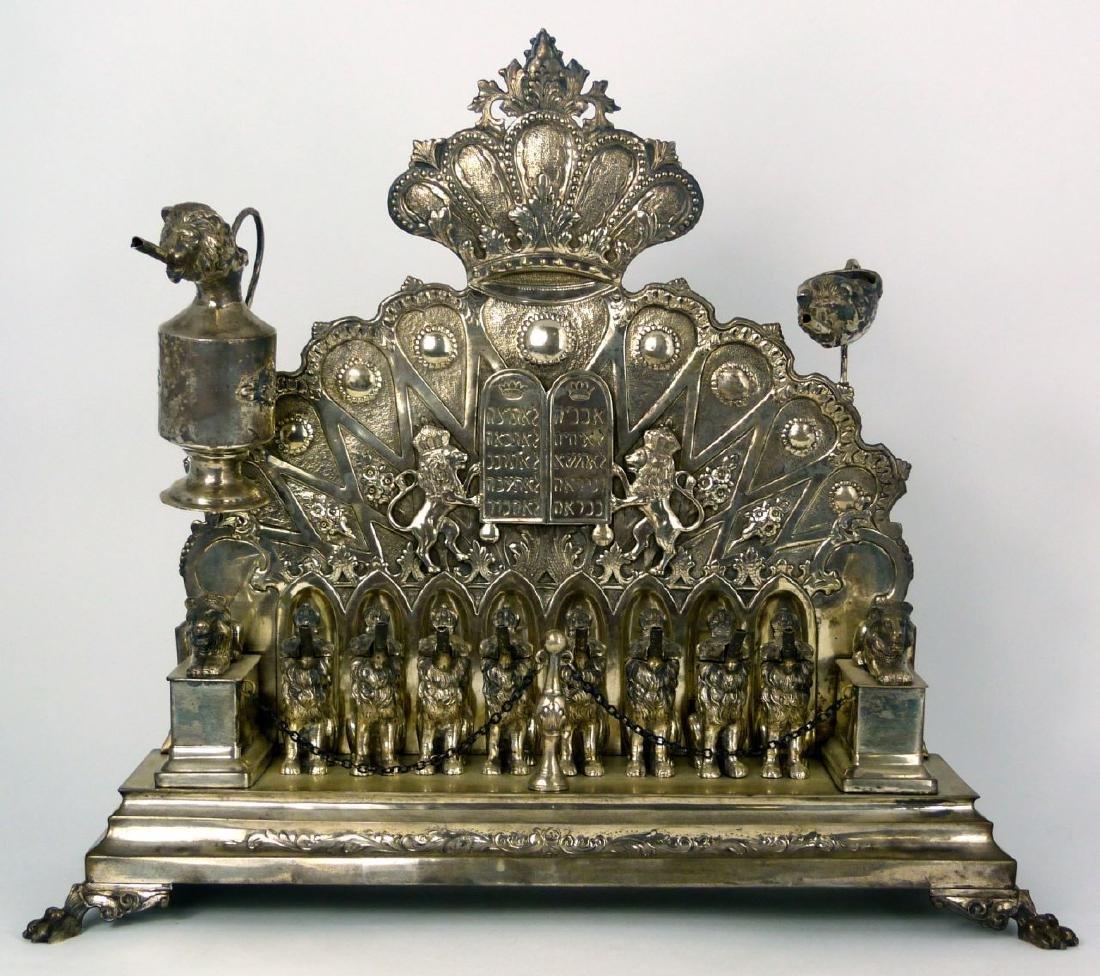 ANTIQUE GERMAN 800 SILVER HANUKKAH MENORAH - 15