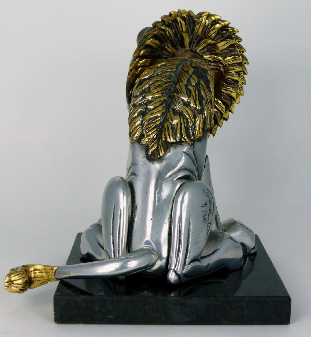 FRANK MEISLER 'SITTING LION' METAL SCULPTURE - 10