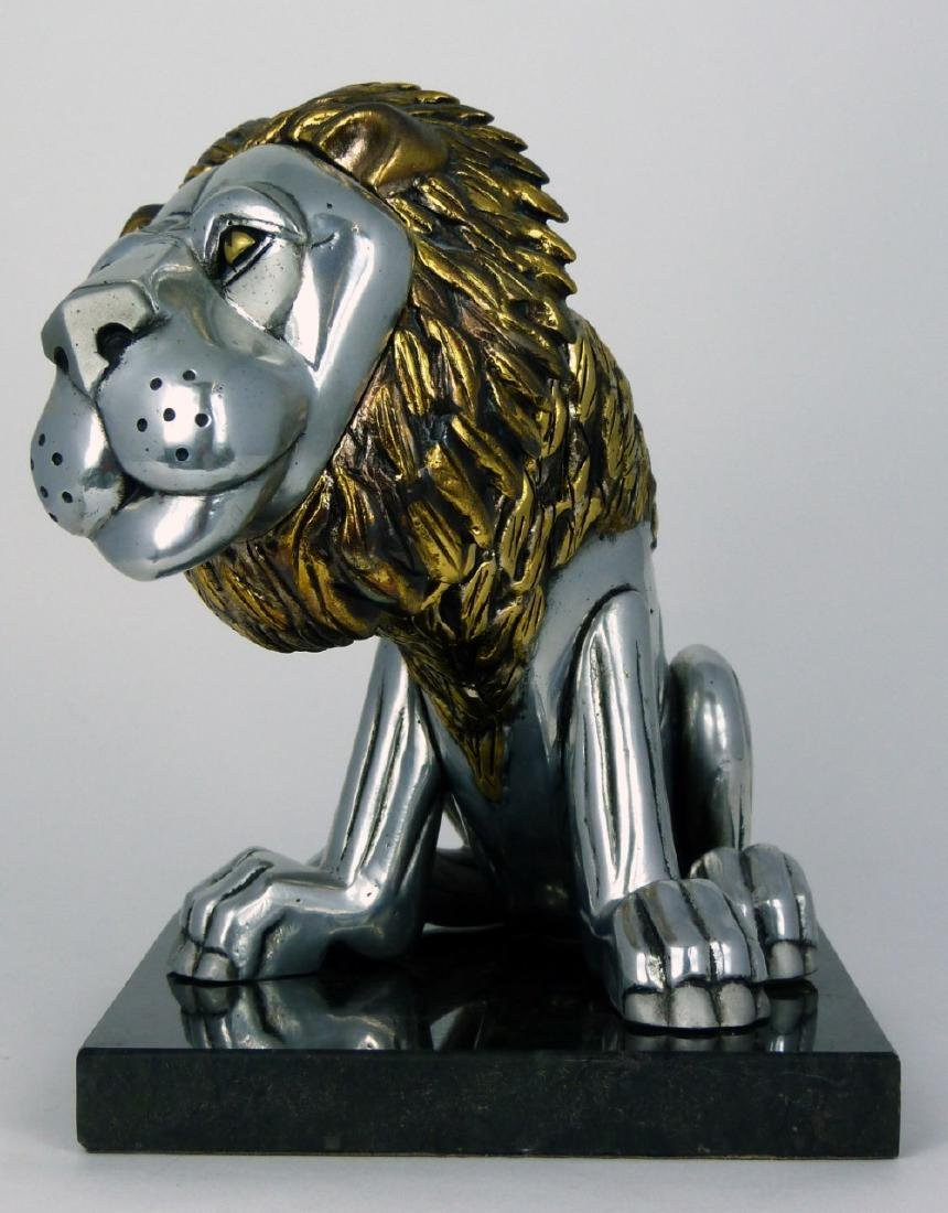 FRANK MEISLER 'SITTING LION' METAL SCULPTURE - 3