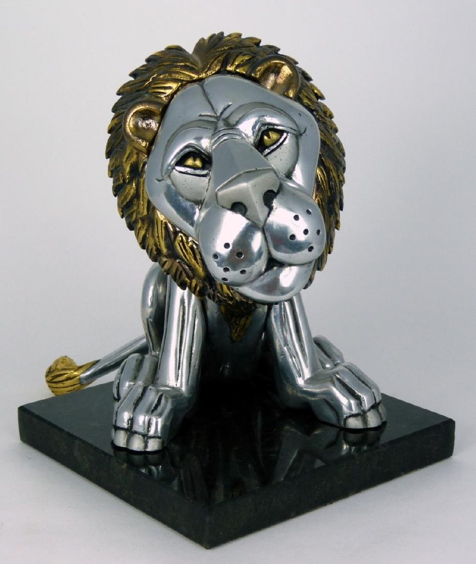 FRANK MEISLER 'SITTING LION' METAL SCULPTURE - 4