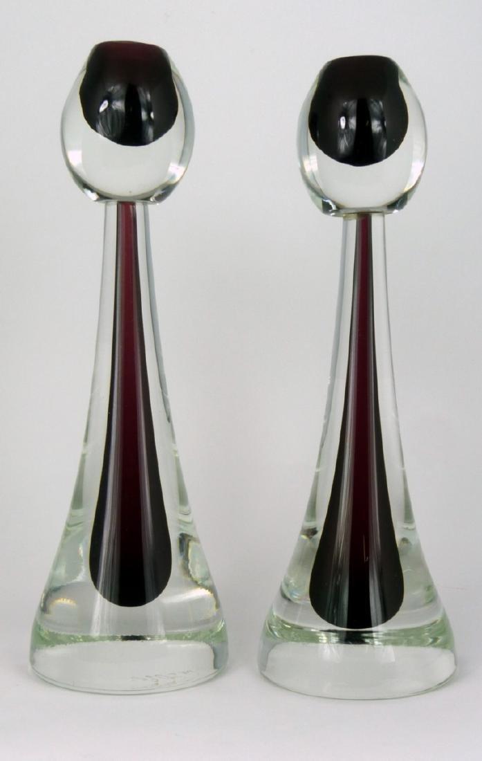 PR MURANO SOMMERSO GLASS CANDLESTICKS SIGNED
