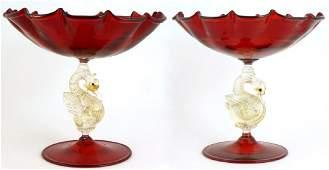 PR VENETIAN RUBY & GOLD FLECK GLASS COMPOTES