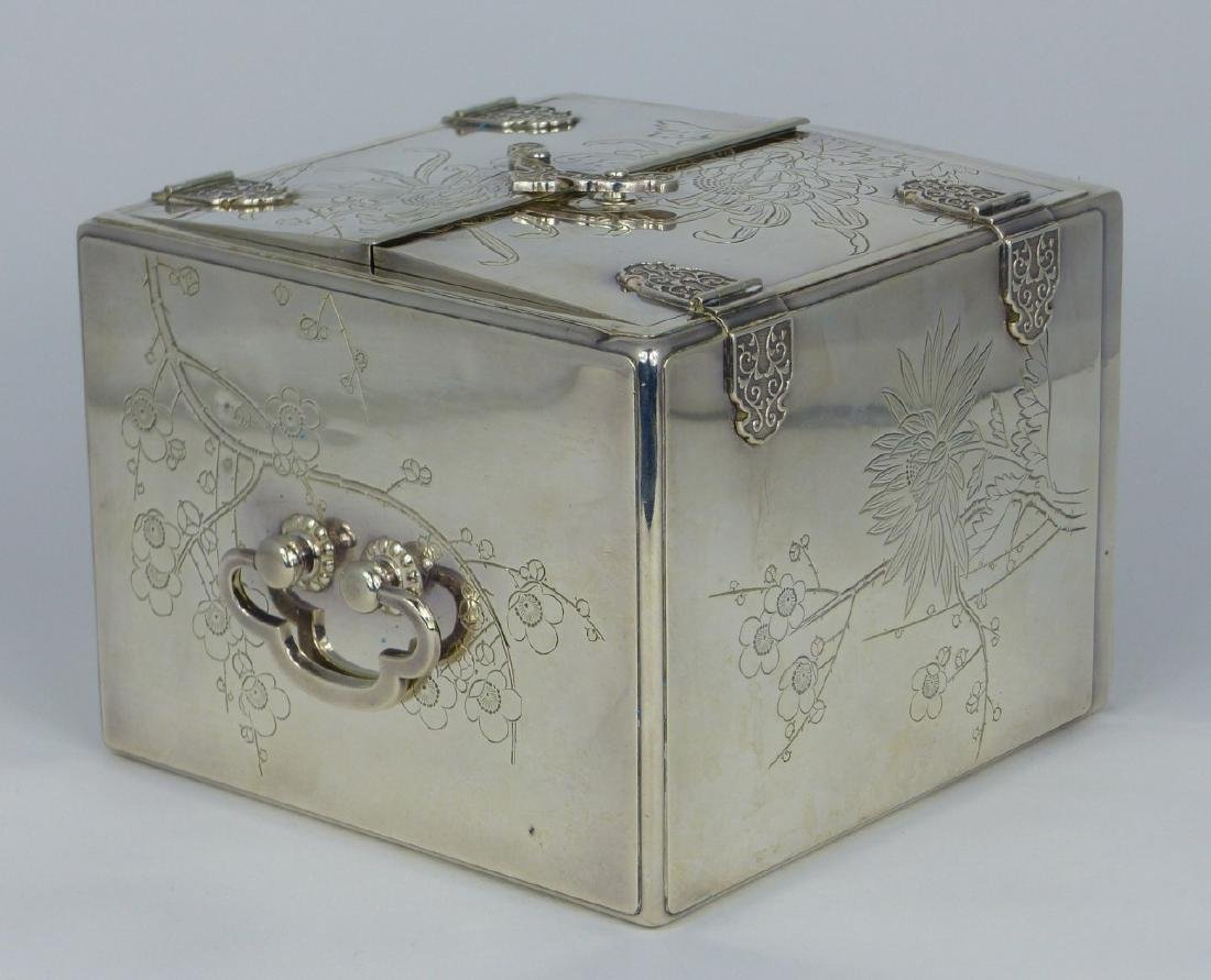 JAPANESE STERLING SILVER JEWELRY BOX - 10