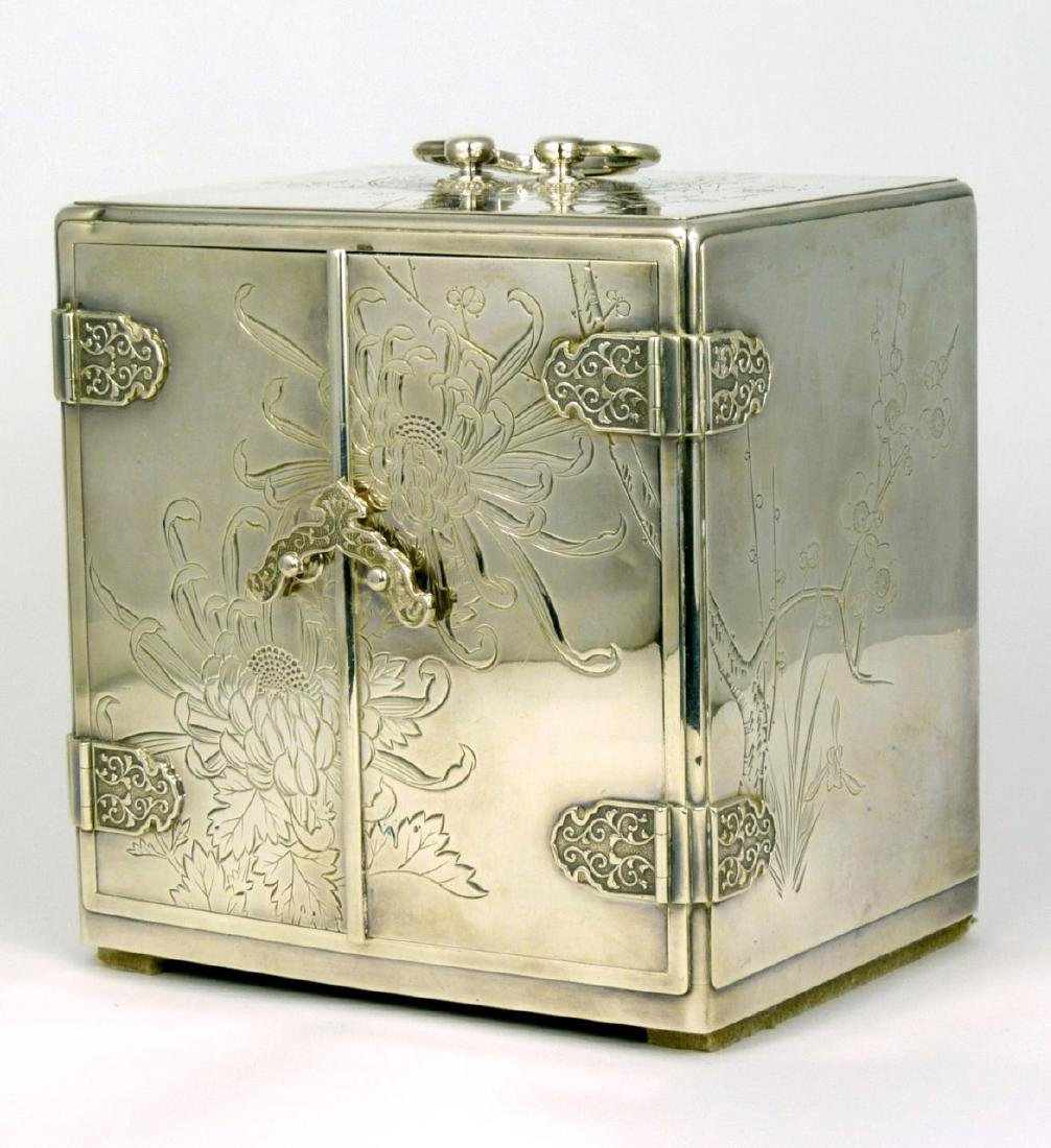 JAPANESE STERLING SILVER JEWELRY BOX