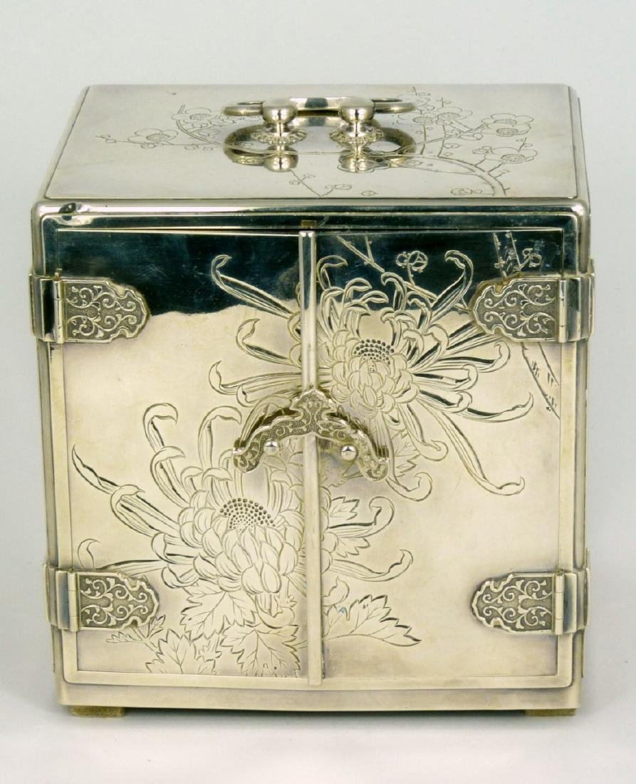 JAPANESE STERLING SILVER JEWELRY BOX - 2