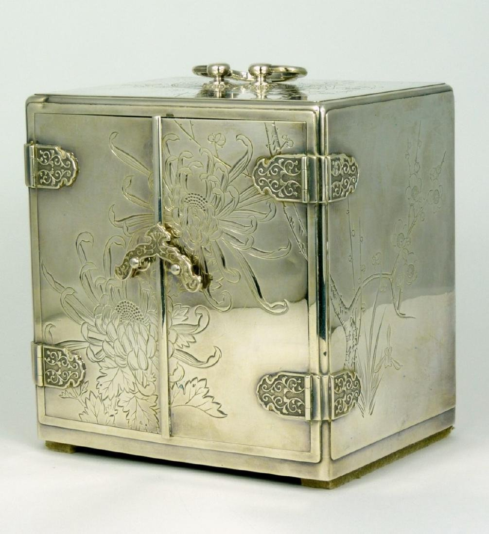 JAPANESE STERLING SILVER JEWELRY BOX - 3