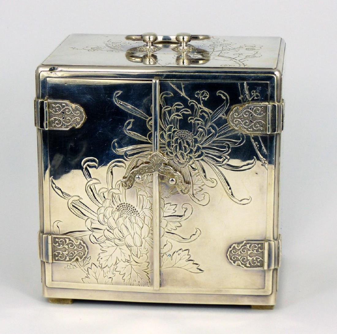 JAPANESE STERLING SILVER JEWELRY BOX - 4